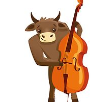 Funny ox playing music with cello by berlinrob