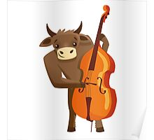 Funny ox playing music with cello Poster