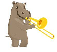 Funny hippo playing music with trombone by berlinrob