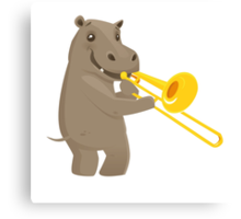 Funny hippo playing music with trombone Canvas Print
