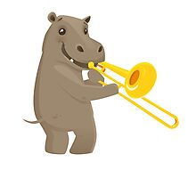 Funny hippo playing music with trombone Photographic Print