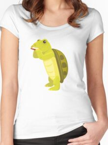 Cute turtle playing music with harmonica Women's Fitted Scoop T-Shirt