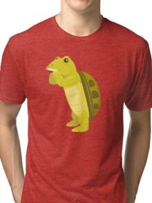 Cute turtle playing music with harmonica Tri-blend T-Shirt