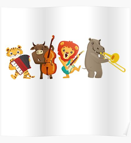 Four funny animals playing in a band Poster