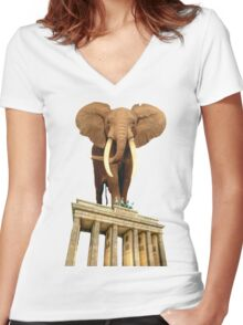 space elephant Women's Fitted V-Neck T-Shirt