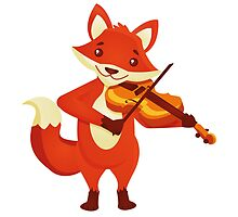 Funny fox playing music with violin by berlinrob