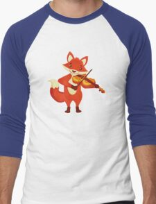 Funny fox playing music with violin Men's Baseball ¾ T-Shirt