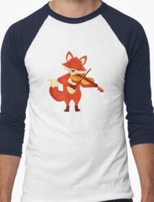 Funny fox playing music with violin Men's Baseball ¾ T-Shirt