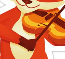 Funny fox playing music with violin Sticker