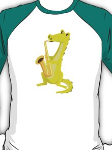 Cartoon crocodile playing music with saxophone T-Shirt