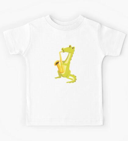 Cartoon crocodile playing music with saxophone Kids Tee