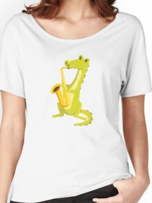 Cartoon crocodile playing music with saxophone Women's Relaxed Fit T-Shirt