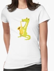 Cartoon crocodile playing music with saxophone Womens Fitted T-Shirt