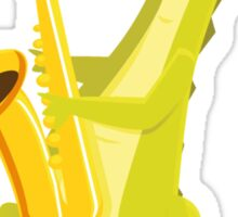 Cartoon crocodile playing music with saxophone Sticker