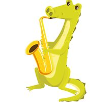 Cartoon crocodile playing music with saxophone by berlinrob