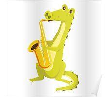 Cartoon crocodile playing music with saxophone Poster