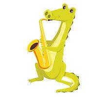 Cartoon crocodile playing music with saxophone Photographic Print