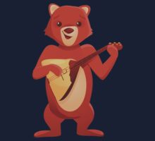 Happy cartoon bear playing music with balalaika Kids Clothes