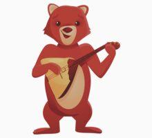 Happy cartoon bear playing music with balalaika Kids Clothes