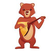 Happy cartoon bear playing music with balalaika Photographic Print