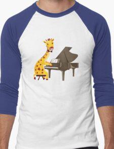 Funny giraffe playing music with grand piano Men's Baseball ¾ T-Shirt