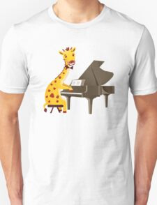 Funny giraffe playing music with grand piano T-Shirt