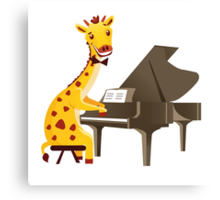 Funny giraffe playing music with grand piano Canvas Print