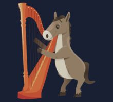 Cartoon donkey playing music with harp Kids Clothes