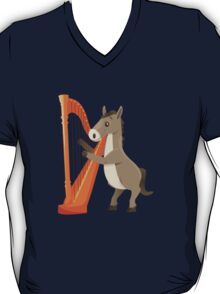 Cartoon donkey playing music with harp T-Shirt