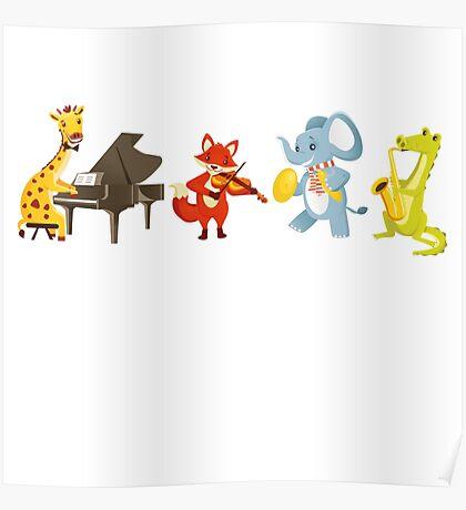 Animal band playing music Poster