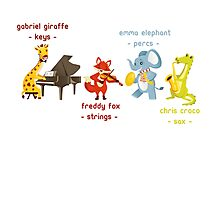 Cartoon animals playing music in a band Photographic Print