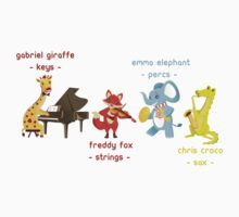 Cartoon animals playing music in a band Kids Clothes