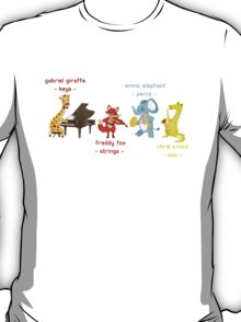 Cartoon animals playing music in a band T-Shirt