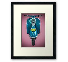 Vintage Blue Scooter Framed Print