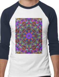 Fractal Floral Abstract Men's Baseball ¾ T-Shirt