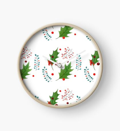 Christmas pattern with holly berries and leaves Clock