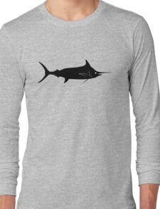 Blue Marlin Fish Silhouette (Black) Long Sleeve T-Shirt