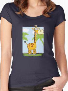 Funny cartoon giraffe Women's Fitted Scoop T-Shirt