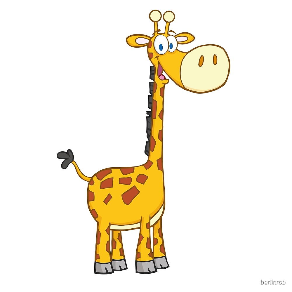 Quot Cute Cartoon Giraffe Smiling Quot By Berlinrob Redbubble