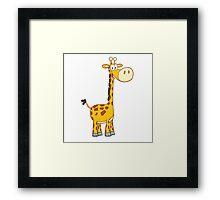 Cute cartoon giraffe smiling Framed Print