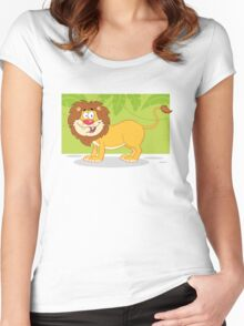 Happy cute cartoon lion Women's Fitted Scoop T-Shirt
