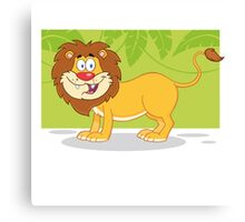 Happy cute cartoon lion Canvas Print