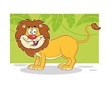 Happy cute cartoon lion Photographic Print
