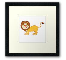 Cute funny cartoon lion Framed Print