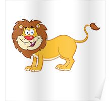 Cute funny cartoon lion Poster