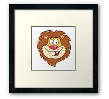 Cute smiling head of a cartoon lion Framed Print