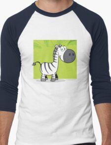 Funny cute cartoon zebra Men's Baseball ¾ T-Shirt
