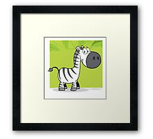 Funny cute cartoon zebra Framed Print