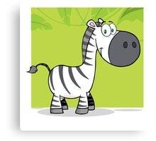 Funny cute cartoon zebra Canvas Print
