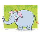 Cute funny cartoon elephant by berlinrob
